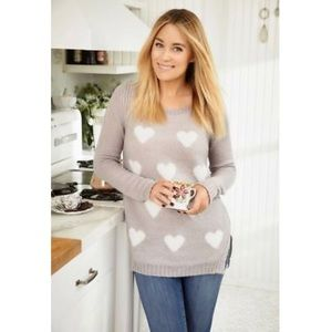 Lauren Conrad LC XXL Heart Tunic Sweater Gray